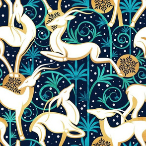 Normal scale // Deco Gazelles Garden Christmas Version // navy background white animals gold and green textured decorative elements