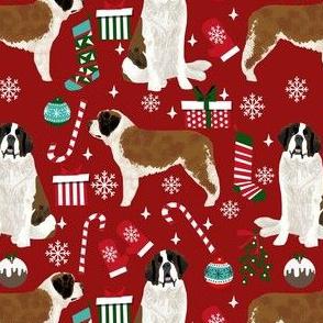 saint bernard christmas fabric - dog fabric, christmas fabric, saint bernard fabric, dog design - ruby
