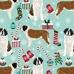 saint bernard christmas fabric - dog fabric, christmas fabric, saint bernard fabric, dog design -light blue