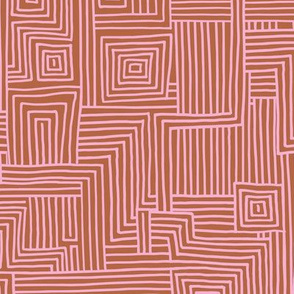 Mudcloth maze stripes minimal Scandinavian grid trend abstract geometric labyrinth copper pink