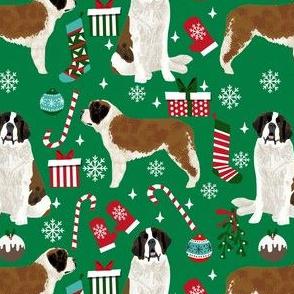 saint bernard christmas fabric - dog fabric, christmas fabric, saint bernard fabric, dog design - green