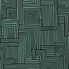 Mudcloth maze stripes minimal Scandinavian grid trend abstract geometric labyrinth green black