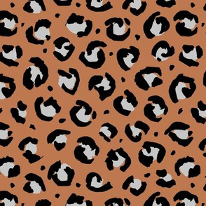 Trendy raw leopard print animals fur modern Scandinavian style panther wild cat design abstract brush rust brown copper gray