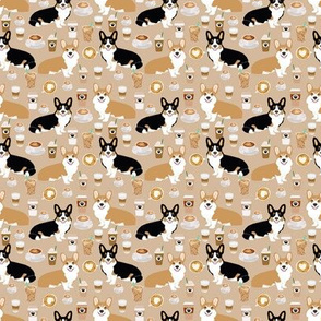 SMALL - corgis and coffees fabric best tri colored coffee design cute coffees and dogs print
