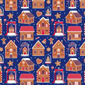 Gingerbread Houses And Sweets Candies - Blue