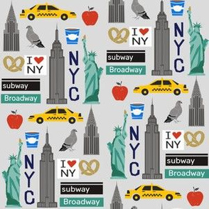 Smaller - nyc tourist travel usa new york city fabric grey