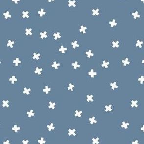 White cross stars on dark grey blue