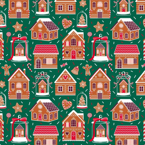 Gingerbread Houses And Sweets Candies - Green