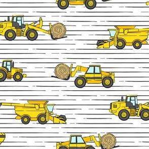 farming equipment - tractor farm - yellow on stripes  - LAD19