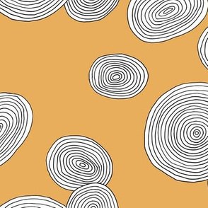 Wood slice organic circle minimal abstract tree strokes ochre yellow