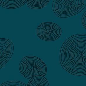 Wood slice organic circle minimal abstract tree strokes navy blue