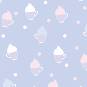 Light blue teacup whipped cream