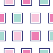Pink and green squares on white