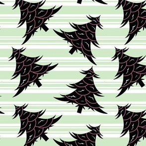 Black Christmas Trees- Mint Candy Cane