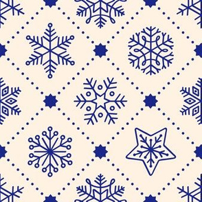Christmas Snowflakes&Stars in Blue