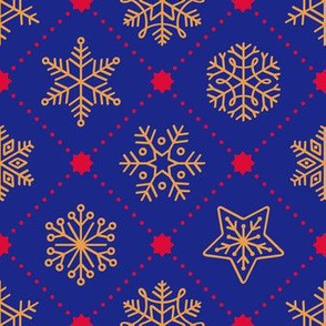 Christmas Snowflakes&Stars - Gold&Blue