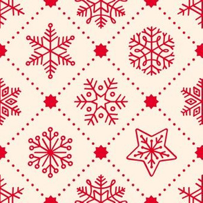 Christmas Snowflakes&Stars in Red