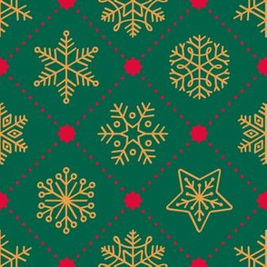 Christmas Snowflakes&Stars - Green&Gold