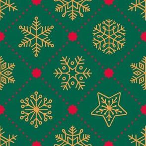 Christmas Snowflakes&Stars - Green&Gold