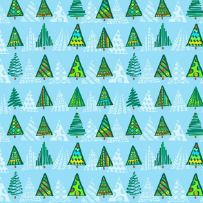 Christmas Trees, blue background