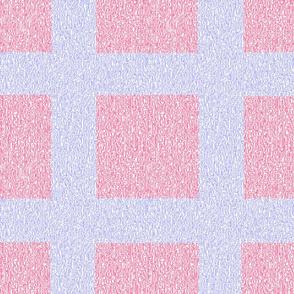 Pink and Blue Wool Tweed Grid