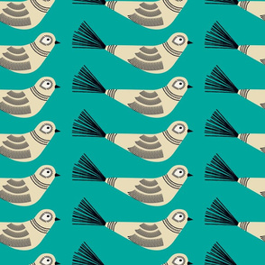 Feather Tree Birds ~ Deep Robin's Egg Blue