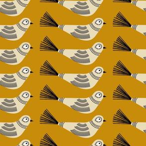 Feather Tree Birds ~ Golden Caramel