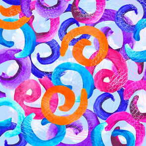 Seamless abstract pattern, watercolor curls. Bright colors, modern color. Vector illustration