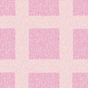 Peach and Pink Wool Tweed Grid