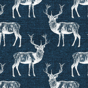 Reindeer on Blue Linen - large scale
