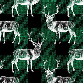 Reindeer on Green Buffalo Plaid - large scale