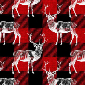 Reindeer on Red Buffalo Plaid - large scale