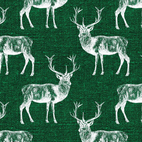 Reindeer on Forest Green Linen - large scale