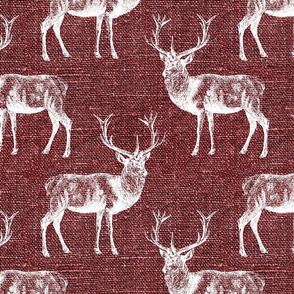 Reindeer on Cranberry Linen - large scale