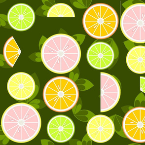 Cut citrus with leaves