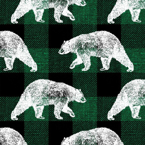 Bears on Green Buffalo Plaid - large scale
