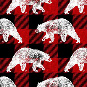 Bears on Red Buffalo Plaid - large scale