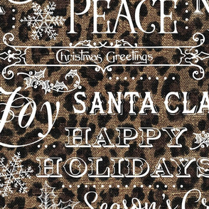Christmas Typography on textured Leopard Print Linen - large scale