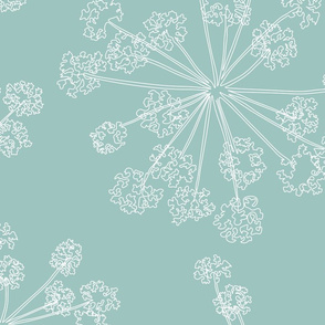 Floral Queen Anne's Lace teal blue (jumbo)