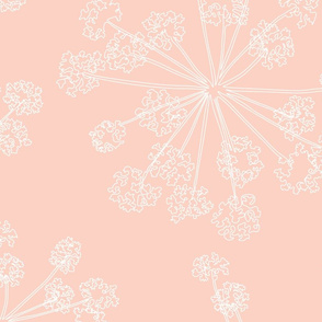 Floral Queen Anne's Lace pink coral (jumbo)