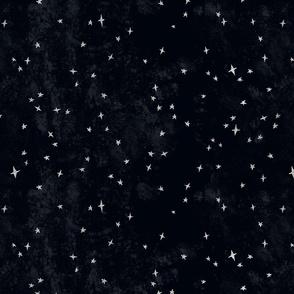 Scattered silver stars metallic on black texture