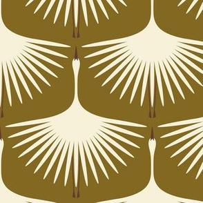 Art Deco Swans - Cream on Olive