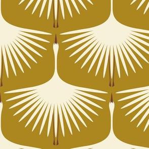 Art Deco Swans - Cream on Vintage Gold