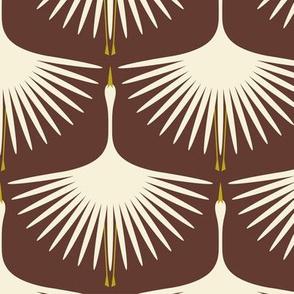 Art Deco Swans - Cream on Mahogany
