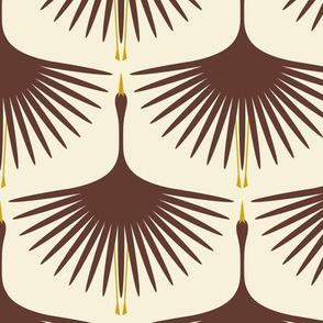 Art Deco Swans - Mahogany on Cream