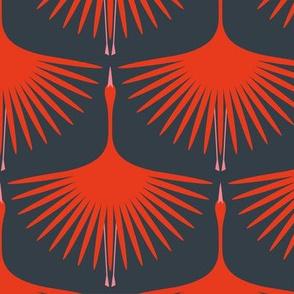 Art Deco Swans - Crimson on Navy