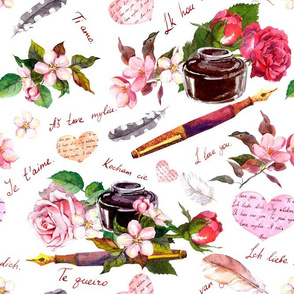"""Hearts, pen, ink, flowers and """"I love you"""" text. Watercolor"""