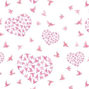 Hearts with birds. Watercolor