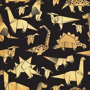 Small scale // Origami metallic dino friends // black background golden dinosaurs