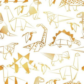 Small scale // Origami metallic dino friends // white background golden lined dinosaurs